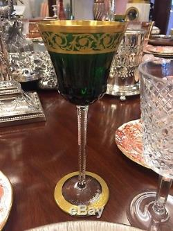 Set of 8 Saint Louis Crystal Thistle Gold Green Hock Wines