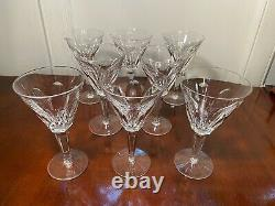Set of 8 Vintage WATERFORD CRYSTAL Sheila Water Wine Goblets Glasses IRELAND