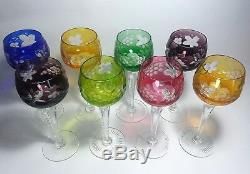 Set of Eight Vintage Cut Crystal WINE GOBLETS Tall Stem, Multi Color 8-1/2