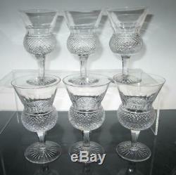 Set of Six (6) Edinburgh Crystal Thistle (Plain) White Wine Glasses