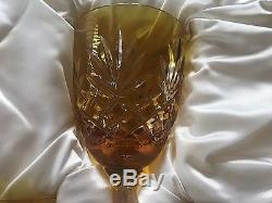 Signed Faberge Yellow Large Odessa Crystal Wine Glasses Set of 6