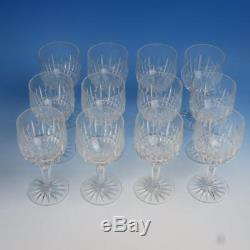 Signed Pepi Herrmann 1975 Brilliant Hand Cut Crystal 12 Footed Wine Goblets