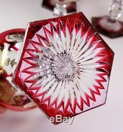 Six Baccarat Crystal Empire Cranberry Champagne Sherbet Wine Stems Glass