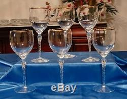 Six Beautiful Rare Lenox Monroe Crystal (Gold Trim) Wine Glasses withTwisted Stem