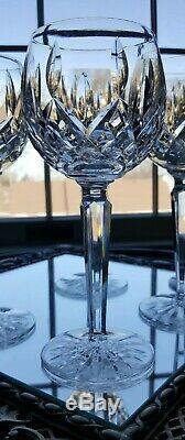 Six VINTAGE Waterford Lismore Crystal Wine Goblets Hocks Glasses 7 3/8 lot#2