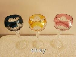 Sklo Bohemia Crystal Wine Glasses Set Of 6 Different Colors New In Box
