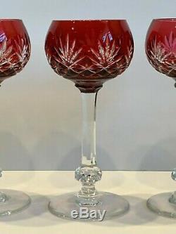 St Louis Crystal France Cranberry Cut Crystal Hock Wine Glasses Set of 3