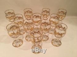 St. Louis Crystal Gold Massenet Wine Glasses Set of 12 Excellent Condition