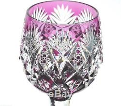 St Louis Florence Amethyst Purple Cut to Clear Crystal Wine Goblet 9.5 Signed