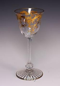 St Louis French Crystal Gold Encrusted 6 5/8 Tall Wine Stem