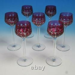 St Louis French Crystal Red Ruby Cut to Clear 7 Wine Hock Glasses 8 inches