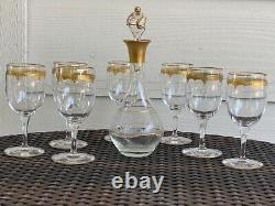 St. Louis Gold Encrusted Crystal Decanter and Sherry Glasses