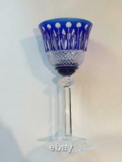 St. Louis Tommy Cobalt Crystal Set Of 4 Wine Hock Goblets Cr1823