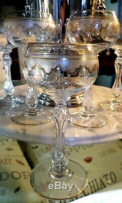 St. Saint Louis French Cut Crystal Gold Gilded Wine Glasses Goblets Set Of 5
