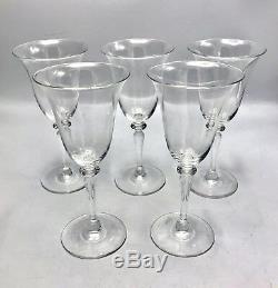 Steuben 6401 Frederick Carder 8.2 Wine Glasses / Goblets Signed Set of 5