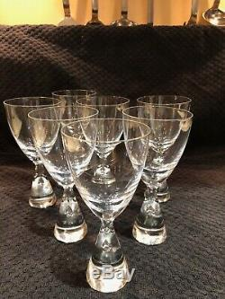 Steuben Crystal Teardrop Wine Glasses Bubble Stem 7 pieces