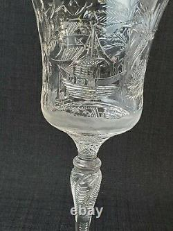 Stevens & Williams Chinoiserie Blown & Cut Crystal Willow Pattern Stem/Glass