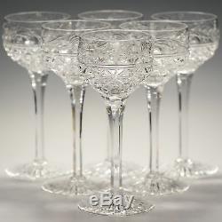 Stuart Crystal MANSFIELD Chrysanthemum 6 Tall HOCK White Wine Glasses 7 Signed