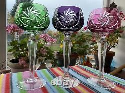 Stunning Bohemian Crystal Coloured Wine / Hock Glasses Set Of 6 Mint & Unused