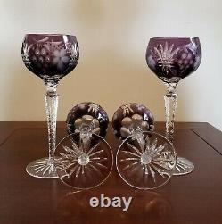Stunning! Bohemian Crystal Cut to Clear Nachtmann Traube Wine Hock Glasses -4