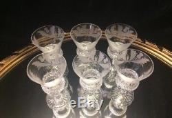 Stunning Set Of Six Edinburgh Crystal Thistle Pattern Wine Glasses, Never Used