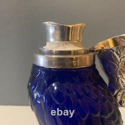 Stunning Vintage Cockatoo Glass Decanter- Silver Plate & Blue Parrot Bird Wine