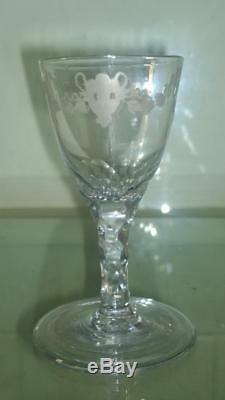Superb 18th C James Giles Bucrania & Paterae Etched Wine Glass with Folded Foot