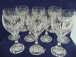 Ten Beautiful Pre-owned French Baccarat Massena 7 Crystal Water/wine Goblets