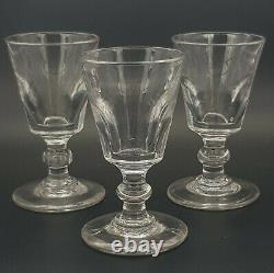 Three Georgian Small Rummer/ Wine Glasses. Bucket Bowl + Flattened Knopped Stems