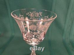 Tiffin Cherokee Rose Set of 7 Crystal 6 Claret Wine Goblets 3 1/2 Oz. #17399