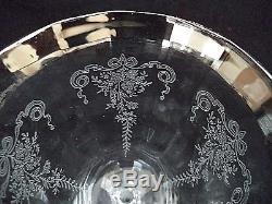 Tiffin crystal 6 water goblets wine stems Melrose etching platinum silver trim