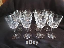 Twelve (12) Signed Waterford Crystal Claret Wine Glasses Lismore Pattern