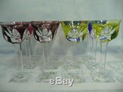 Twelve Awesome Signed Moser Multi-colored 7-1/2 Wine Glasses, Six Colors