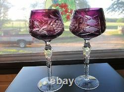 Two (2) Echt Bleikristal Amethyst Cut To Clear Crystal Wine Hocks Mint