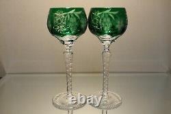 Two (2) Nachtmann Traube Bohemian Cut Crystal Wine Hock Emerald Green Grape Mint