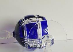 Two Ajka Cobalt Blue Wine Glasses, New, Signed, Ralph Lauren glen plaid design