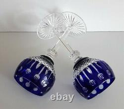 Two Ajka Xenia King Louis Cobalt Blue Cased Cut To Clear Wine Hocks / Goblets