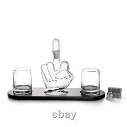 Unique Whiskey Decanter Set Glass Crystal Bottle Display Dispenser Wine Vintage