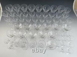 VAL ST. LAMBERT 60PC SET Cut Crystal WINE Champagne GLASSES Glass Goblet Red 12