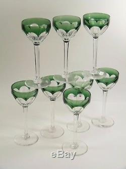 VAL St LAMBERT Crystal OSRAM Cut Coloured Wine Glasses Set of 8