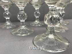 VTG Czech Bohemian Karolinka Gold Etched Crystal Wine Glasses Gold rim Set of 6