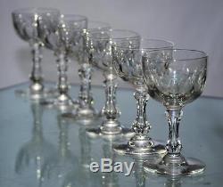 Val St. Lambert Antique 6 Glasses Wine Crystal Size 1906 Stem Balloon L'air