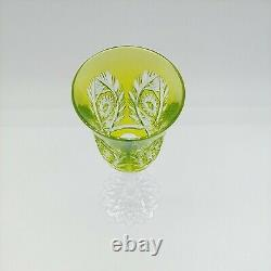Val St Lambert Chartreuse Cut to Clear Crystal Wine Glass Fancy Foot 8.5