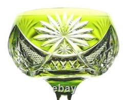 Val St Lambert Epinal Light Green Cut to Clear Crystal Wine Goblet