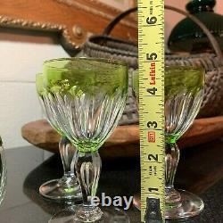 Val St Lambert Peridot Green 13 1/4 Decanter 3 Paul I Tcpl 4 7/8 Wine Glasses
