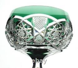 Val St Lambert Saarbrucken Emerald Green Cut to Clear Cased Crystal Wine Goblet