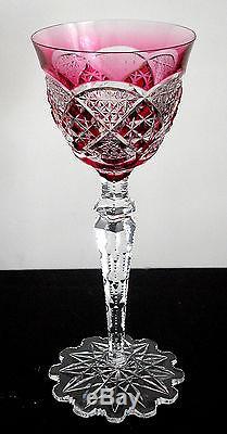 Val St Lambert Verrept Cranberry Pink Cased Cut Clear Crystal Rhine Wine Goblet