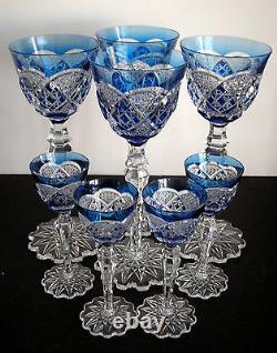 Val St Lambert Verrept Lt Blue Cased Cut Clear Crystal Rhine Wine Goblet Signed