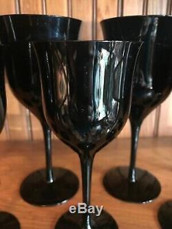 Vintage 16-Piece LEAD CRYSTAL BLACK WINE GLASSES 6.75 & WATER GOBLETS 7.75
