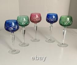 Vintage 6 color Bohemian Czech Crystal Cut to Clear Wine Goblet Stem Glass 8